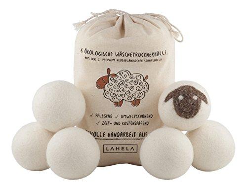 LAHELA Trocknerbälle 6er Pack - natürliche Alternative für Weichspüler. Premium Schafwolle. Pflegend, umweltschonend, zeit- und kostensparend. Wäschetrockner...