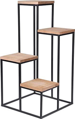 Koopmann Pflanzentreppe mit 4 Etagen Ebenen Pflanzenregal Blumrenregal Balkonregal Blumenständer für innen Mehrstöckig Badregal aus Metall und Holz Vintage...