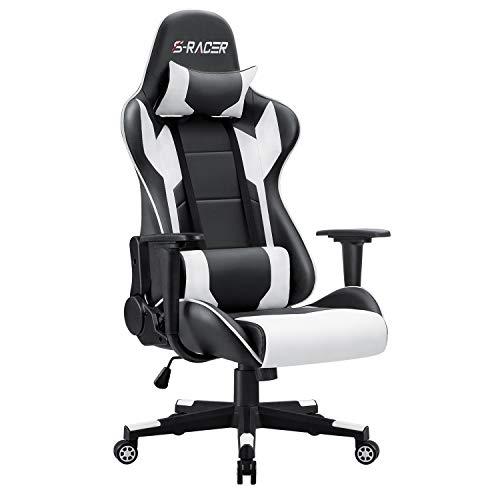 Homall Gaming Stuhl Bürostuhl Zocker Stuhl Ergonomischer Gamer Stuhl PC-Stuhl Racing Computerstuhl Höhenverstellbarer Schreibtischstuhl, Weiß