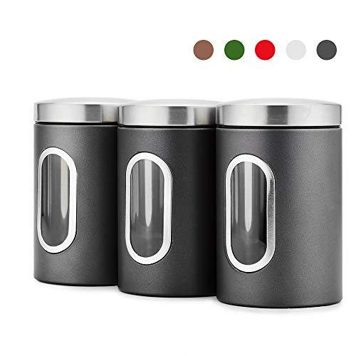 Blusea 3 Stück Vorratsdose Lebensmittel Aufbewahrungsbehälter Edelstahl Vorratsbehälter mit Deckel und Transparentem Sichtfenster für Tee, Getreide,...