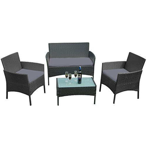 UISEBRT Garden Furniture Poly Rattan Balcony Furniture Seating Set Lounge Set - With 2 sofa, single chairs, table and anthracite seat cushions