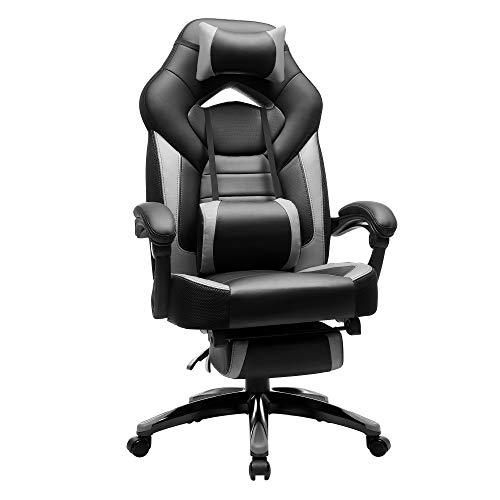 SONGMICS Gamingstuhl, Bürostuhl mit Fußstütze, Schreibtischstuhl, ergonomisches Design, verstellbare Kopfstütze, Lendenstütze, bis zu 150 kg belastbar,...