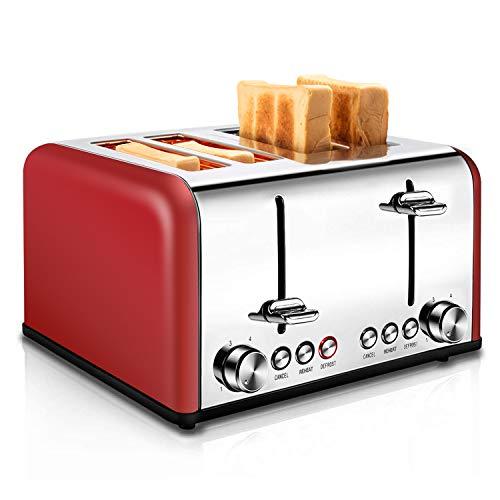 REDMOND Toaster 4 Scheiben 1650W Edelstahl Toaster mit 6 Bräunungsstufen, Brotzentrierung, Aufwärm/Auftau/Abbruch-Funktionen, Abnehmbarer Krümelschublade (Rot)