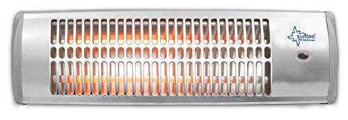 SUNTEC Quarz-Heizstrahler Heat Ray 1500 [Für Räume bis 45 m³ (~19 m²)*, ideal als Wickeltischstrahler, Wandmontage, 2 Stufen, max. 1200 W]