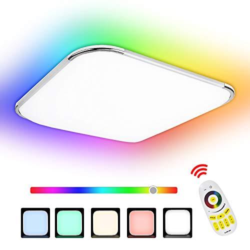 Hengda 24W RGB LED Deckenleuchte, Deckenlampe 6500K Dimmbar, Schutzart IP44, Kinderzimmerlampe, Schlafzimmerv Flimmerfrei und Blendfrei, Wohnzimmerlampe inkl....