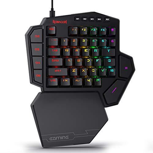 Redragon K585 DITI Einhand Tastatur Gaming Mechanische Tastatur, 42 Programmable Tasten E-Sport Tastatur, Blaue Schalter, RGB Beleuchtung, 7 Makro-Tasten, mit...