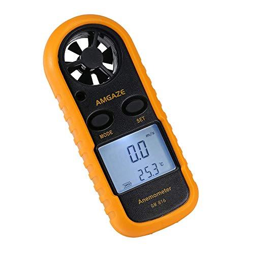 Amgaze Windmesser Digital Anemometer Windmessgerät Air Flow Geschwindigkeit Messung Thermometer mit Hintergrundbeleuchtung für Windsurfen Kite Flying Segeln Surfen