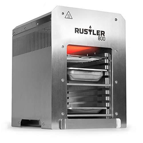 Rustler 800 Hochleistungsgrill - Oberhitze Gasgrill aus Edelstahl für Temperaturen bis zu 800° C mit Piezozünder - 800 Grad Grill - Inkl. Grillrost, Auffangschale...