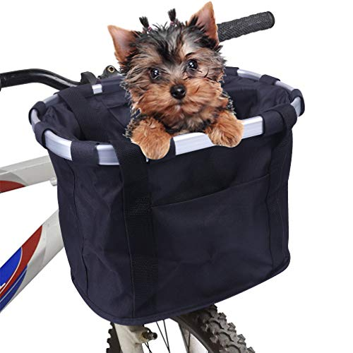 Fahrradkorb Vorne Abnehmbarer Mehrzweck-Korb Fahrrad Vorn Fahrrad Lenker Korb für Haustiere Easy Install Abnehmbare Lenkerkorb Tasche für...