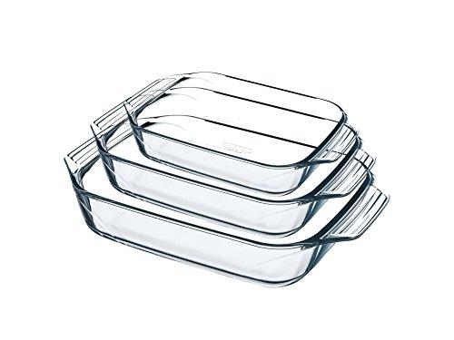 Pyrex 8023510, Set aus 3 Auflaufformen aus Glas – Borosilikatglas – Extrem widerstandsfähig – hergestellt in Frankreich