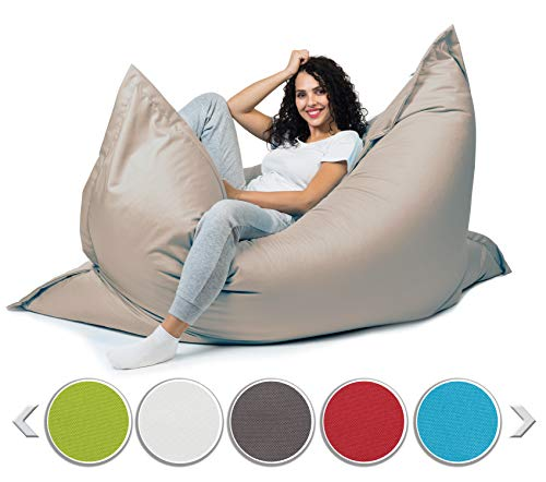 sunnypillow XL beanbag, giant beanbag outdoor & indoor 100 x 150 cm with 140L styrofoam filling armchair for children & adults seat cushion sofa beanbag many colors ...