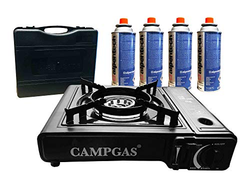 Gas cooker + suitcase + 4 gas cartridges