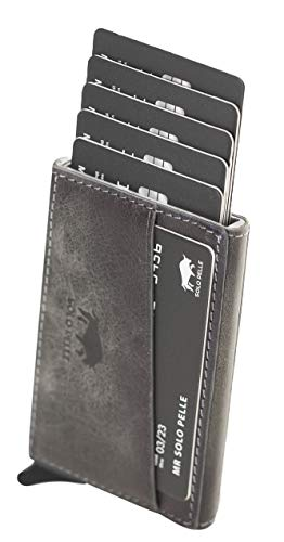 Solo Pelle Kartenetui mit RFID Schutz bis 11 Karten Portmonee Geldbeutel Kreditkartenetui für den Alltag Mech Echtes Leder in Steingrau