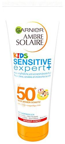 Garnier Ambre Solaire Kids Sensitive asiantuntija + aurinkovoide SPF 50+, aurinkovoidelasten lapset erittäin korkealla aurinkosuojalla, 200 ml