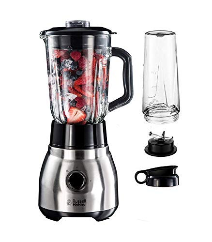 Russell Hobbs Standmixer Glas Steel 2-in-1, inkl. To-Go-Becher & Deckel, 1.5l Glasbehälter, Mixer 0.8 PS-Motor, Impuls-/Ice-Crush Funktion, mini Smoothie-Maker...
