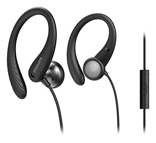 Philips Sportkopfhörer A1105BK/00 mit Mikrofon, In Ear Kopfhörer (Flexible Ohrbügel, Bass-Beat-Öffnung, IPX2 schweißresistent, Sicherer Sitz,...
