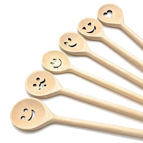Balna 6 Stück Kochlöffel Holz Set, Holzkochlöffel mit Gesicht Motiv Backlöffel Hartholz Buchenholz Küchenhelfer Kinder Geschenk Basteln Laserschnitt