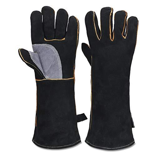 Extrem hitze- und feuerbeständige Handschuhe aus Leder mit Kevlar-Nähten, perfekt für Kamin, Herd, Ofen, Grill, Schweißen, BBQ, MIG, Topflappen, Tierhandhabung,...