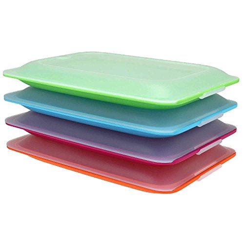 Hochwertige Aufschnitt-Boxen 4er Set platzsparend stapelbar ( Stapelboxen ) / Vorratsdosen-Set für Aufschnitt mit integrierter Servierplatte. Foodcenter...
