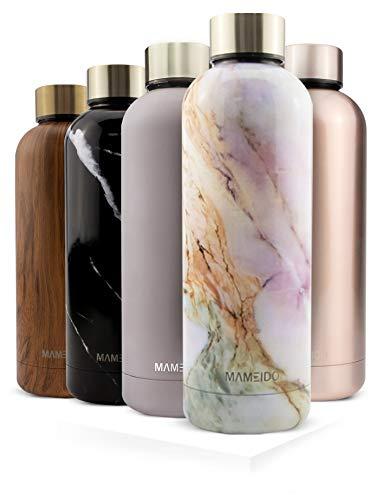 MAMEIDO Trinkflasche Edelstahl - Marmor Rosa - 750ml, 0,75l Thermosflasche - auslaufsicher, BPA frei - schlanke isolierte Wasserflasche, leichte doppelwandige...