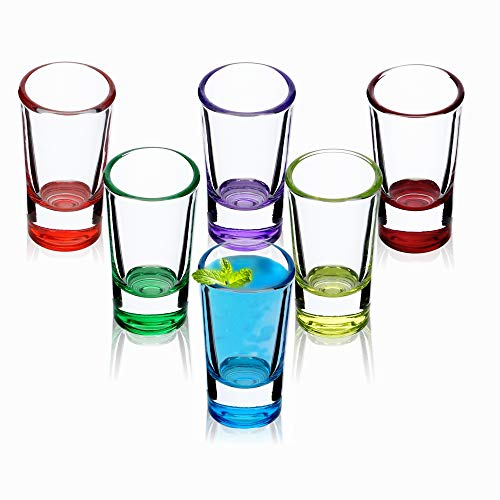KADAX Schnapsgläser, 6er Set, 28ml, Shotgläser, Stamper für Alkohol, Brand, Shot, Vodka, Party, Schnapsglas, Kurze Gläser, Sambuca Gläser, Pinnchen Gläser,...