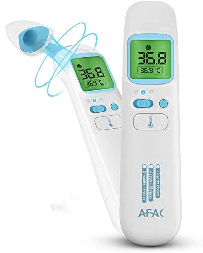 AFAC Fieberthermometer Digital Kontaktlos Thermometer Erwachsene Baby mit Magnetabdeckung, 4 in 1 Stirn Ohr Objekt Raum, 4 Farben Bildschirmanzeige, 40 Daten...