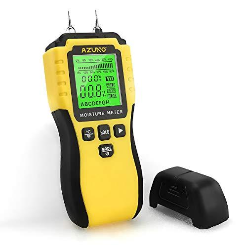 AZUNO Feuchtigkeitsmessgerät, Pin-Typ Holzfeuchtemessgerät mit Batterie und LCD-Display digitale Feuchtemessgerät-Detector für Holz,Wand ,Baustoffen,Gipskarton