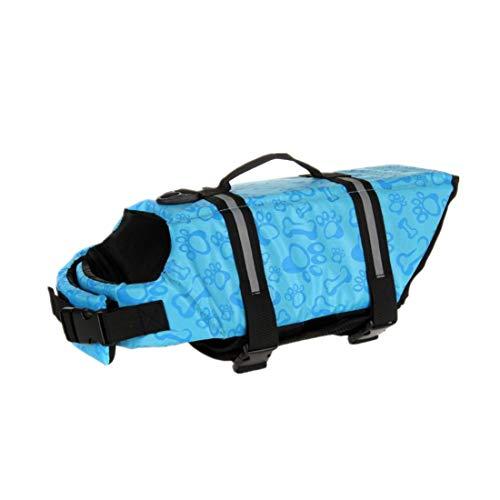 KOFOHON Hundeschwimmweste mit Rettungsgriff, verstellbarer Gürtel für Schwimmen, Bootfahren, Surfen und Kajak, Large, Blaue Knochen