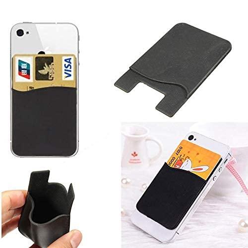 SONDERVERKAUF Kartenhalter Handy aus Silikon - Kartenetui zum Aufkleben - card holder - Smartphone Kartenhalter (Schwarz)