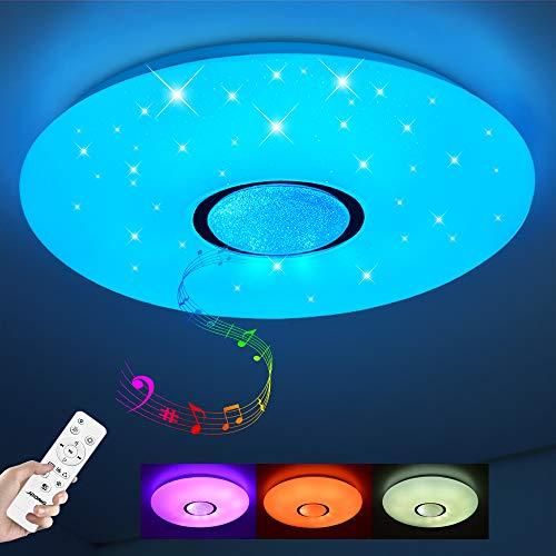 Led Deckenleuchte mit Fernbedienung dimmbar 24W Bluetooth Deckenleuchte Sternenhimmel,Farbwechsel RGB Warmweiß/Kaltweiß IP44 Wasserfest(ohne APP)