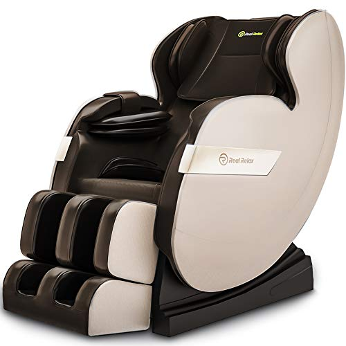 Real Relax 2020 massage chair, Zero Gravity for full body with heating and castors Bluetooth and LED light brown