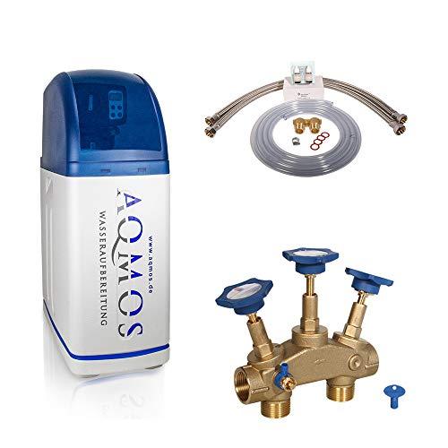 Aqmos R2D2-32 Wasserenthärtungsanlage mit Anschlussset 1' und Montageblock 1' | Wasserenthärter für Haushalte bis zu 5 Personen | Entkalkungsanlage Antikalkanlage...