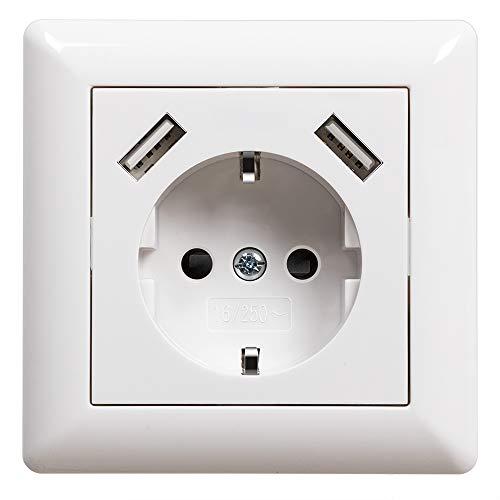 USB Steckdose Weiß Unterputz Schuko Steckdose mit USB Anschluss (Max. 2.8A) System 55 Reinweiß Glänzend Schutzkontakt-Steckdose Wandsteckdose Passent in Standard...