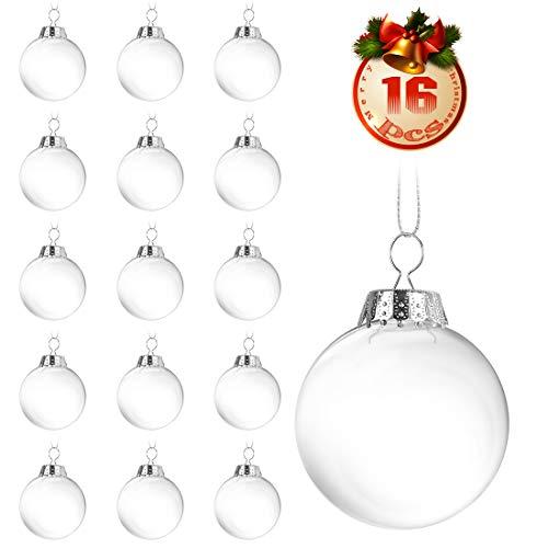 O-Kinee Klar Weihnachtskugeln,16 pcs Befüllbare DIY Christbaumkugeln aus Plastik,Durchsichtige Kunststoffkugeln,Weihnachtskugeln Baumschmuck,Weihnachten Deko zum...