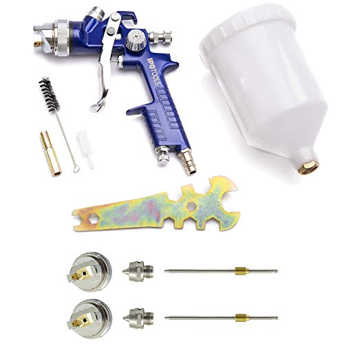 IPOTOOLS HVLP Lackierpistole Spritzpistole 1,4mm + 1,7mm & 2,0mm Düse - H-827P Profi Farbsprühsystem Spraypistole mit 600 ml Plastikbecher und Edelstahldüse 1,4mm...