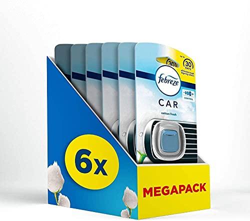 Febreze Auto Lufterfrischer (12 ml) Reine Frische, Auto Duft gegen Gerüche (6 x 2 ml)