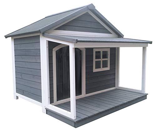 SAUERLAND Hundehütte aus Massivholz   wetterfeste Hundehütten mit Satteldach   isoliertes Hundehaus   Outdoor Hütte mit Vordach, Terrasse & Fenster   B 130 x T...