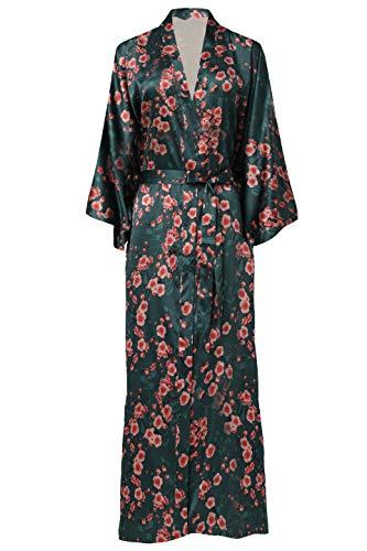 ArtiDeco Damen Morgenmantel Maxi Lang Seide Satin Kimono Kleid Blüten Muster Kimono Bademantel Damen Lange Robe Blumen Schlafmantel Girl Pajama Party 135 cm Lang...