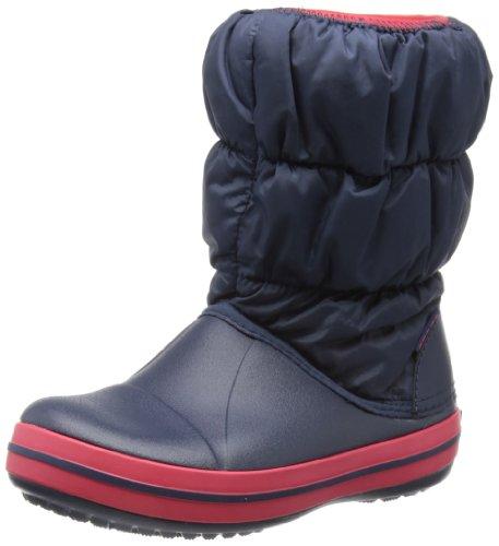 Crocs Winter Puff Boot Kids, Unisex - Kinder Schneestiefel, Blau (Navy/Red), 24/25 EU