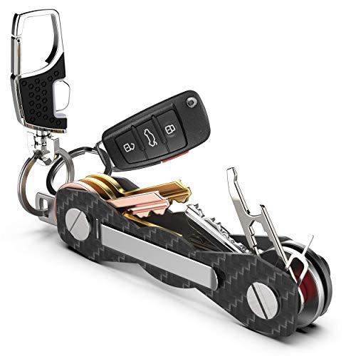 Schlüsselorganizer Carbon Kompakt - Premium-Hochleistungs Schlüsselbund-Organizer bis 28 Schlüssel -B0NUS- Schlüsselanhänger mit Schlaufenteil für Gürtel &...