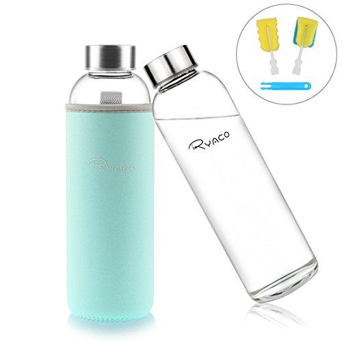 Ryaco Glasflasche Trinkflasche Classic Tragbare 550ml BPA-frei für unterwegs Sportflasche Glas Wasserflasche zum Mitnehmen von kalten Heiß Getränken mit Neopren...