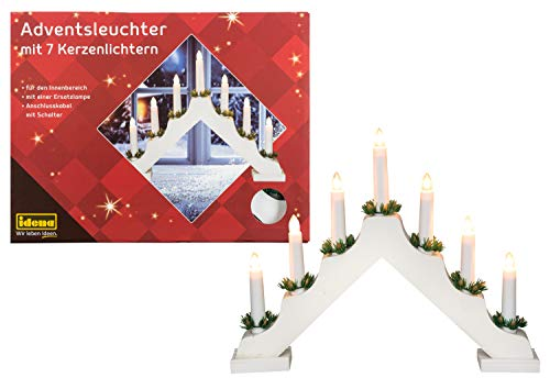 Idena 8582067 - Advent candlestick made of white lacquered wood with 7 candlelights, including spare lamp, connection cable with switch, approx. 40 x 30 cm