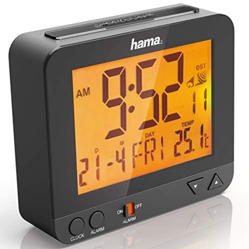 Hama Funk-Wecker Digital RC550 (Funkuhr mit Nachlicht, Digitalwecker mit Temperatur- und Datumsanzeige, inkl. Batterie) schwarz