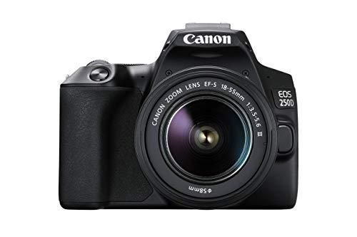 Canon EOS 250D Digitalkamera (24,1 Megapixel, 7,7 cm (3 Zoll) Vari-Angle Display, APS-C-Sensor, 4K, Full-HD, DIGIC 8, WLAN, Bluetooth) inkl. EF-S 18-55mm f/3.5-5,6...