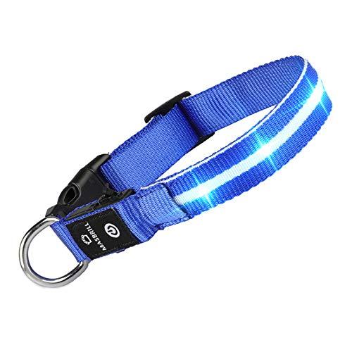 MASBRILL Leuchthalsband für Hunde Aufladbar LED Hundehalsband 100% Wasserdicht Blinkende Lichter mit USB (S, 40cm, Blau)