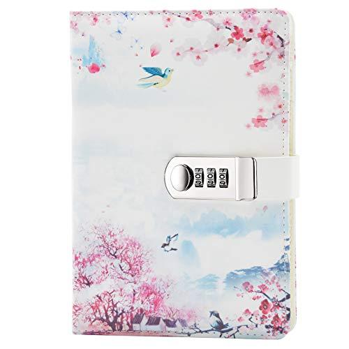 Lirener PU Lederbuch A5 Tagebuch Notizbuch Notebook Skizzenbuch Journal Planer Organizer, Geheimnis ausgekleidet Password Tagebuch Sketch mit Zahlenschloss...