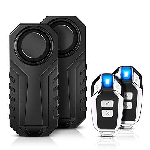Motorrad Fahrrad Alarm,YBLNTEK 2er-Pack 113 dB Drahtlose Fahrrad Alarmanlage Mit Fernbedienung, Diebstahlsichere Vibration zubehör IP55 Wasserdicht für e...