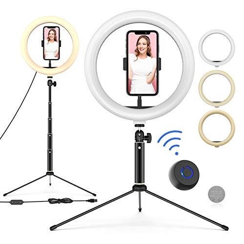 Ringleuchte mit Stativ, 10'' LED Selfie Ringlicht Stativ mit Fernbedienung, Handyhalter und 3 Farbe und 10 Helligkeitsstufen, Live Licht für Make-up, YouTube,...