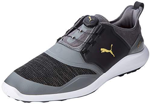 PUMA Men's Ignite NXT DISC Golf Shoes, Black (Quiet Shade-Team Gold-Black), 39 EU