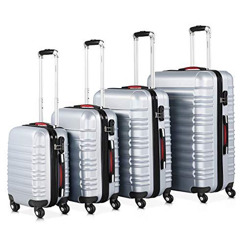 Monzana® Baseline 4er Set Koffer  Silber S, M, L, XL Gelgriffe Zahlenschloss  Reisekoffer Trolley Kofferset Rollkoffer